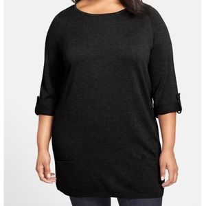 Caslon Large Knit Rolled Sleeves Tunic Sweater